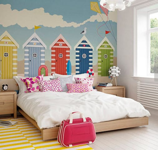 beach hut mural wall stickers.