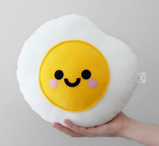 fried egg kawaii pillow